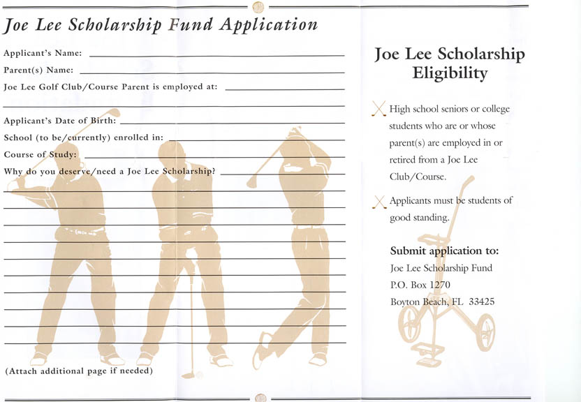 Joe Lee Scholarship Application